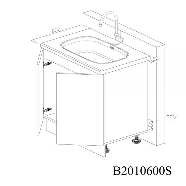 B2090900 Baza Masca Chiuveta 2 Usi Verticale si 4 Balamale cu Amortizare Blum 2