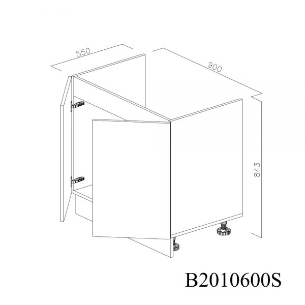 B2090900 Baza Masca Chiuveta 2 Usi Verticale si 4 Balamale cu Amortizare Blum deschis