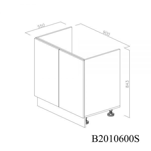 B2090900 Baza Masca Chiuveta 2 Usi Verticale si 4 Balamale cu Amortizare Blum inchis