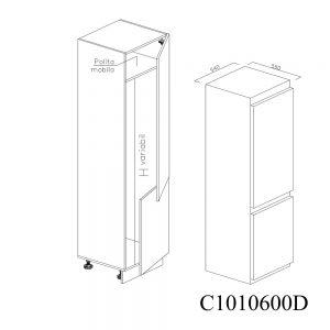 C1010600D Coloana pentru Frigider Incastrabil cu 2 Usi 1 Polita si 5 Balamale cu Amortizare Blum cu deschidere pe dreapta