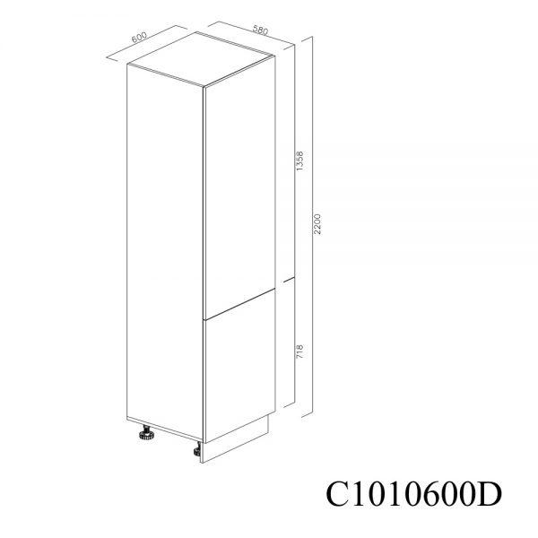 C1010600D Coloana pentru Frigider Incastrabil cu 2 Usi 1 Polita si 5 Balamale cu Amortizare Blum cu deschidere pe dreapta inchis