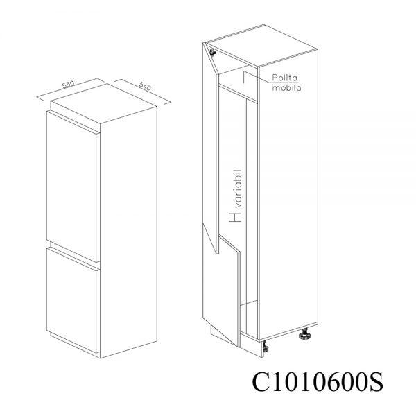C1010600S Coloana pentru Frigider Incastrabil cu 2 Usi 1 Polita si 5 Balamale cu Amortizare Blum cu deschidere pe stanga