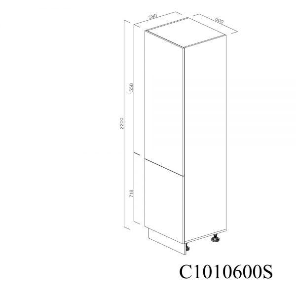 C1010600S Coloana pentru Frigider Incastrabil cu 2 Usi 1 Polita si 5 Balamale cu Amortizare Blum cu deschidere pe stanga inchis