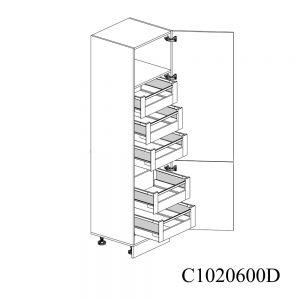 C1020600D Coloana Sertare Space Tower Antaro 5 Buc cu 2 Usi 2 Polite si 5 Balamale cu Amortizare Blum cu deschidere pe dreapta deschis