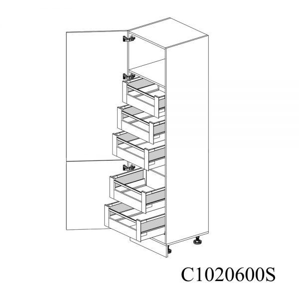 C1020600S Coloana Sertare Space Tower Antaro 5 Buc cu 2 Usi 2 Polite si 5 Balamale cu Amortizare Blum cu deschidere pe stanga deschise