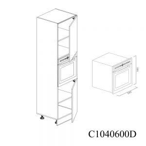 C1040600D Coloana pentru Cuptor cu 2 Usi 2 Polite si 5 Balamale cu Amortizare Blum cu deschidere pe dreapta