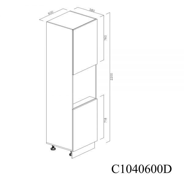 C1040600D Coloana pentru Cuptor cu 2 Usi 2 Polite si 5 Balamale cu Amortizare Blum cu deschidere pe dreapta inchis