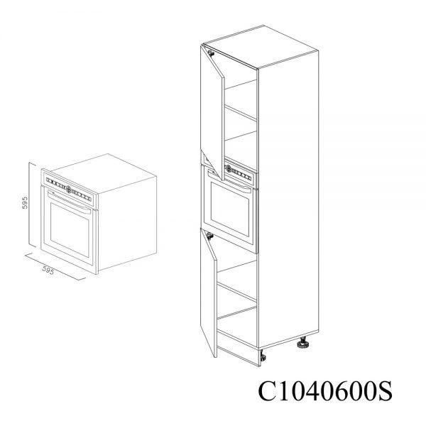 C1040600S Coloana pentru Cuptor cu 2 Usi 2 Polite si 5 Balamale cu Amortizare Blum cu deschidere pe stanga
