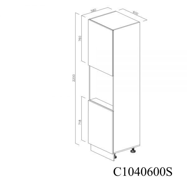 C1040600S Coloana pentru Cuptor cu 2 Usi 2 Polite si 5 Balamale cu Amortizare Blum cu deschidere pe stanga inchis