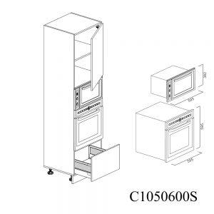 C1050600D Coloana pentru Cuptor Microunde cu 1 Sertar Antaro cu Amortizare Blum 1 Usa cu 2 Balamale cu Amortizare Blum cu deschidere pe dreapta