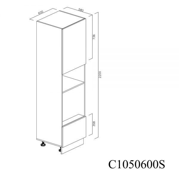C1050600D Coloana pentru Cuptor Microunde cu 1 Sertar Antaro cu Amortizare Blum 1 Usa cu 2 Balamale cu Amortizare Blum cu deschidere pe dreapta inchis