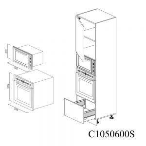 C1050600S Coloana pentru Cuptor Microunde cu 1 Sertar Antaro cu Amortizare Blum 1 Usa cu 2 Balamale cu Amortizare Blum cu deschidere pe stanga