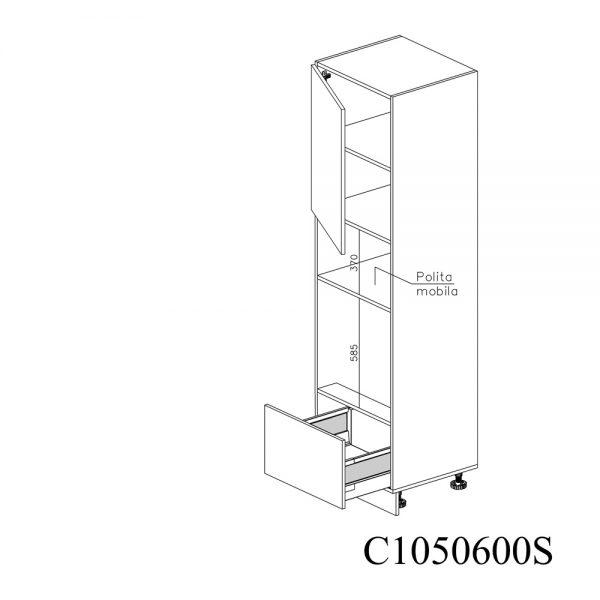 C1050600S Coloana pentru Cuptor Microunde cu 1 Sertar Antaro cu Amortizare Blum 1 Usa cu 2 Balamale cu Amortizare Blum cu deschidere pe stanga deschis