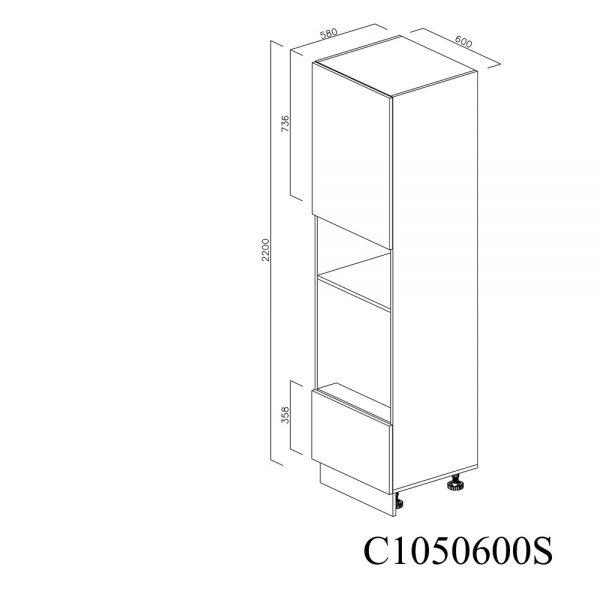 C1050600S Coloana pentru Cuptor Microunde cu 1 Sertar Antaro cu Amortizare Blum 1 Usa cu 2 Balamale cu Amortizare Blum cu deschidere pe stanga inchis