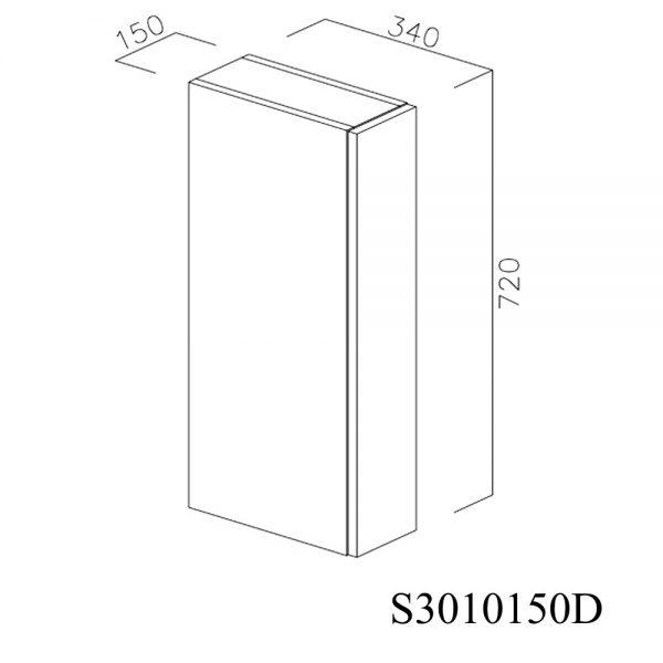 S3010150D Suspendat cu 1 Usa Verticala 1 Polita si 2 Balamale cu Amortizare Blum cu deschidere pe dreapta inchis