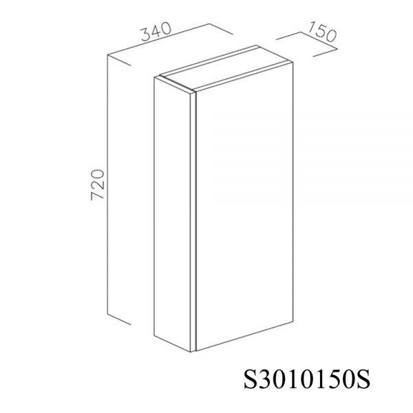 S3010150S Suspendat cu 1 Usa Verticala 1 Polita si 2 Balamale cu Amortizare Blum cu deschidere pe stanga inchis 1