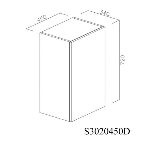 S3020450D Suspendat cu Scurgator Vase Inox cu 1 Usa Verticala si 2 Balamale cu Amortizare Blum cu deschidere pe dreapta inchis