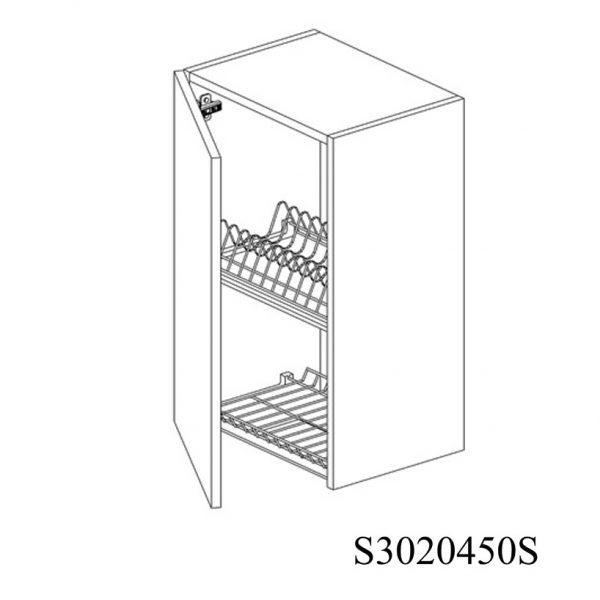 S3020450S Suspendat cu Scurgator Vase Inox cu 1 Usa Verticala si 2 Balamale cu Amortizare Blum cu deschidere pe stanga 1