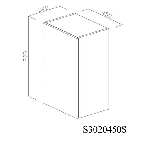 S3020450S Suspendat cu Scurgator Vase Inox cu 1 Usa Verticala si 2 Balamale cu Amortizare Blum cu deschidere pe stanga inchis