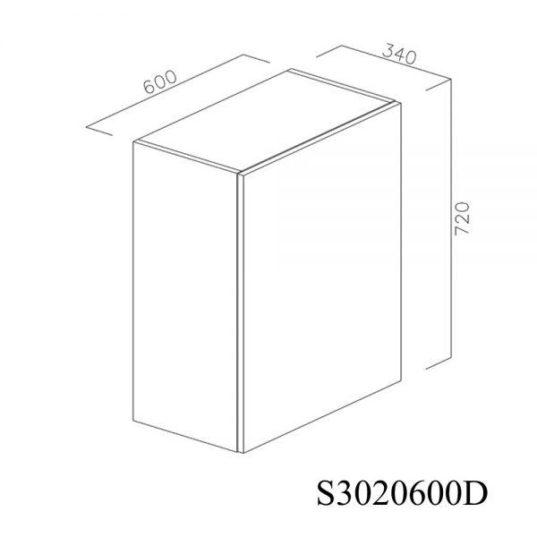 S3020600D Suspendat cu Scurgator Vase Inox cu 1 Usa Verticala si 2 Balamale cu Amortizare Blum cu deschidere pe dreapta inchis 1