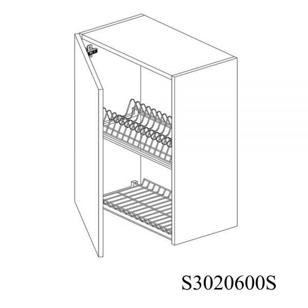 S3020600S Suspendat cu Scurgator Vase Inox cu 1 Usa Verticala si 2 Balamale cu Amortizare Blum cu deschidere pe stanga 2