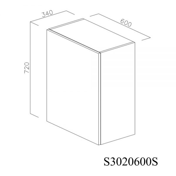 S3020600S Suspendat cu Scurgator Vase Inox cu 1 Usa Verticala si 2 Balamale cu Amortizare Blum cu deschidere pe stanga inchis 1