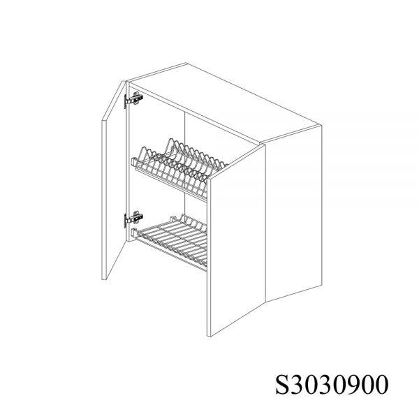 S3030900 Suspendat cu Scurgator Vase Inox cu 2 Usi Verticale si 4 Balamale cu Amortizare Blum deschise 1