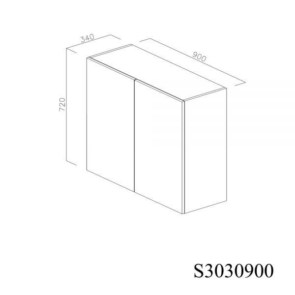 S3030900 Suspendat cu Scurgator Vase Inox cu 2 Usi Verticale si 4 Balamale cu Amortizare Blum inchise