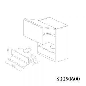 S3050600 Suspendat cu Hota Elica Ciak 320MCH cu 2 Usi Orizontale si 1 Sistem cu Amortizare Aventos HF Blum deschise