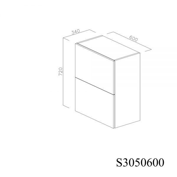 S3050600 Suspendat cu Hota Elica Ciak 320MCH cu 2 Usi Orizontale si 1 Sistem cu Amortizare Aventos HF Blum inchise