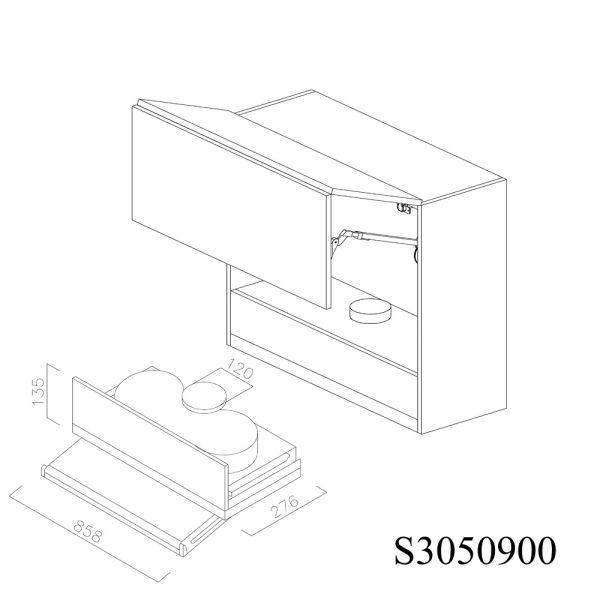 S3050900 Suspendat cu Hota Elica Ciak 320MCH cu 2 Usi Orizontale si 1 Sistem cu Amortizare Aventos HF Blum deschise