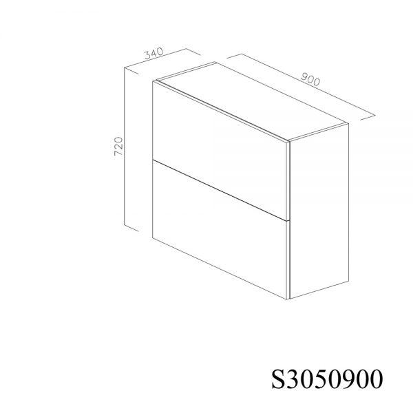 S3050900 Suspendat cu Hota Elica Ciak 320MCH cu 2 Usi Orizontale si 1 Sistem cu Amortizare Aventos HF Blum inchise