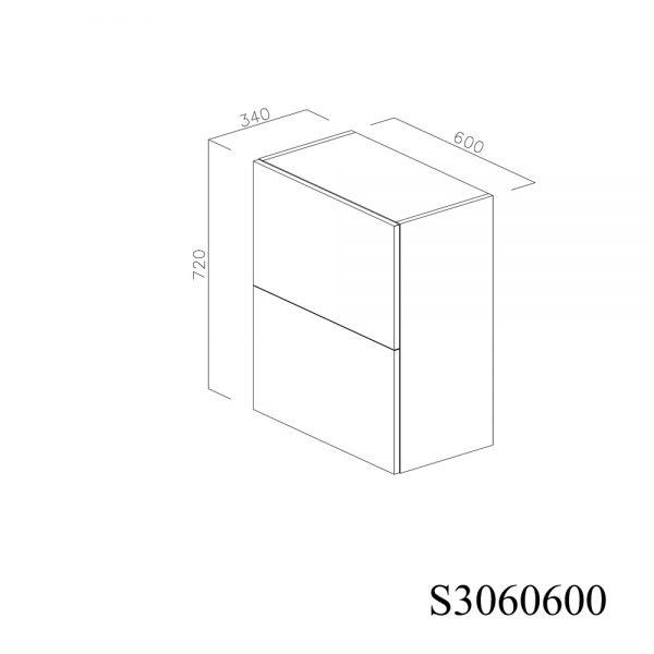 S3060600 Suspendat cu 2 Usi Orizontale 1 Polita si 1 Sistem cu Amortizare Aventos HF Blum inchis