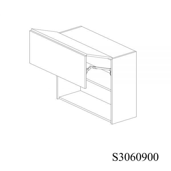 S3060900 Suspendat cu 2 Usi Orizontale 1 Polita si 1 Sistem cu amortizare Aventos HF Blum deschis