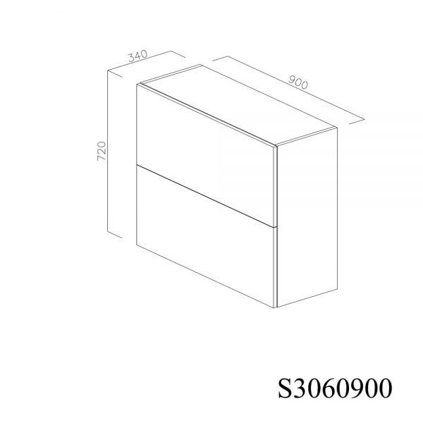 S3060900 Suspendat cu 2 Usi Orizontale 1 Polita si 1 Sistem cu amortizare Aventos HF Blum inchis