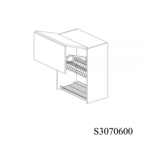 S3070600 Suspendat cu Scurgator de Vase Inox 2 Usi Orizontale si 1 Sistem cu Amortizare Aventos HF Blum deschis