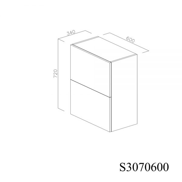 S3070600 Suspendat cu Scurgator de Vase Inox 2 Usi Orizontale si 1 Sistem cu Amortizare Aventos HF Blum inchis