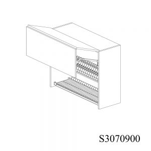 S3070900 Suspendat cu Scurgator de Vase Inox 2 Usi Orizontale si 1 Sistem cu Amortizare Aventos HF Blum deschis 1