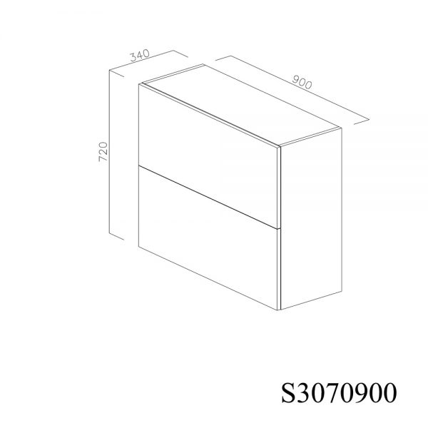 S3070900 Suspendat cu Scurgator de Vase Inox 2 Usi Orizontale si 1 Sistem cu Amortizare Aventos HF Blum inchis