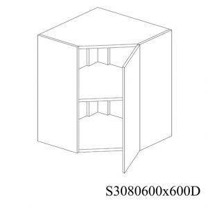 S3080600X600D Suspendat de Colt cu 1 Usa Verticala la 45 Grade si 2 Balamale cu Amortizare Blum cu deschidere pe dreapta 1