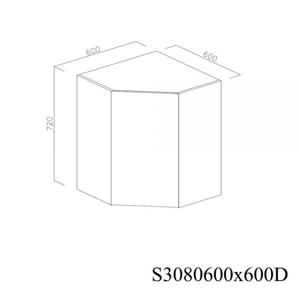 S3080600X600D Suspendat de Colt cu 1 Usa Verticala la 45 Grade si 2 Balamale cu Amortizare Blum cu deschidere pe dreapta inchis