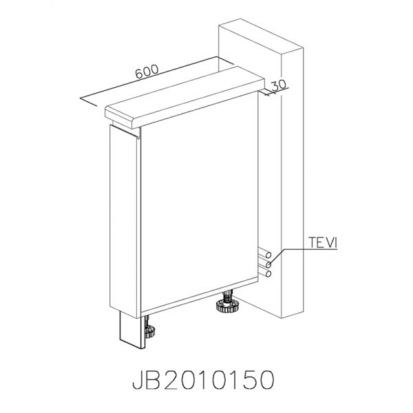 JB2010150 Baza cu 1 Usa Verticala 1 polita si 2 Balamale cu Amortizare Blum