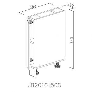JB2010150S Baza cu 1 Usa Verticala 1 polita si 2 Balamale cu Amortizare Blum cu deschidere pe stanga