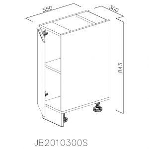 JB2010300S Baza cu 1 Usa Verticala 1 polita si 2 Balamale cu Amortizare Blum cu deschidere pe stanga
