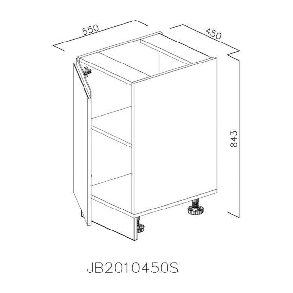 JB2010450S Baza cu 1 Usa Verticala 1 polita si 2 Balamale cu Amortizare Blum cu deschidere pe stanga