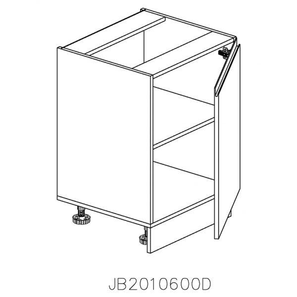 JB2010600D Baza cu 1 Usa Verticala 1 polita si 2 Balamale cu Amortizare Blum cu deschidere pe dreapta