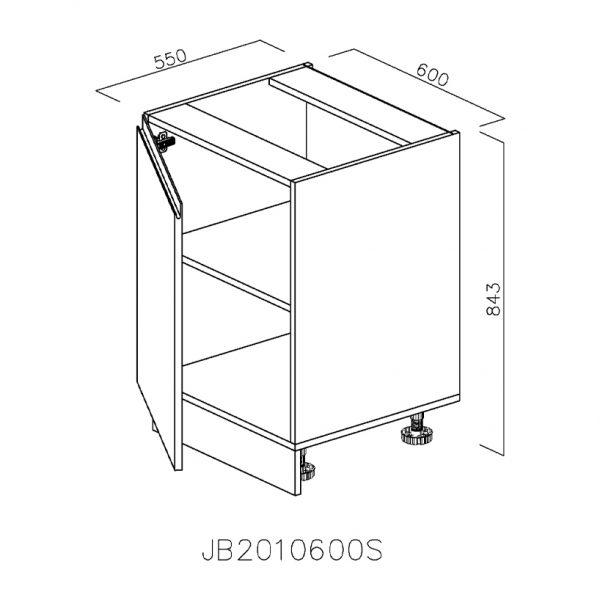 JB2010600S Baza cu 1 Usa Verticala 1 polita si 2 Balamale cu Amortizare Blum cu deschidere pe stanga
