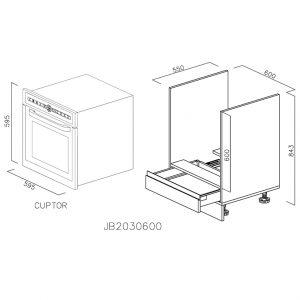 JB2030600 Baza Cuptor cu 1 Sertar Orizontal Antaro cu Amortizare Blum deschis
