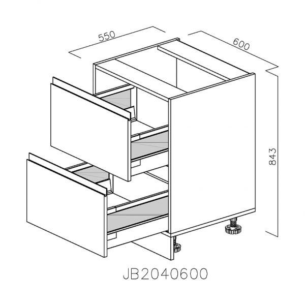 JB2040600 Baza cu 2 Sertare 358 Orizontale Antaro cu Amortizare Blum deschise