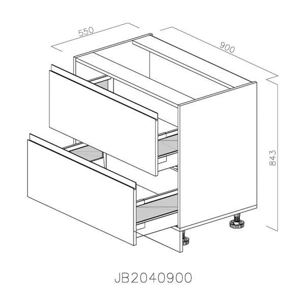 JB2040900 Baza cu 2 Sertare 358 Orizontale Antaro cu Amortizare Blum deschise